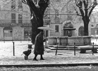 Piazzetta Vescovado sotto la neve - 1971