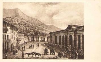 Torre di Porta Lunga, Piazzale Arnaldo con il Mercato del Grano.