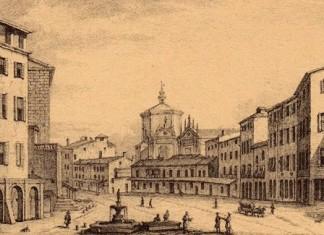 Brescia: il Corso del Teatro nel 1750 - Cartolina con riproduzione stampa.
