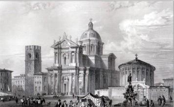 La Cattedrale e piazza Duomo 1854 - cartolina francese
