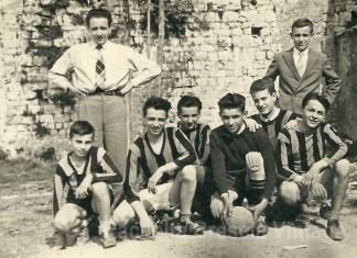 1957. Oratorio di S. Maria in Calchera. Lo zio Luigi con i suoi compagni di gioco.