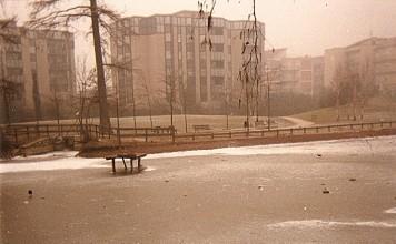 Laghetto ghiacciato al Parco Ducos - Brescia inverno 1987