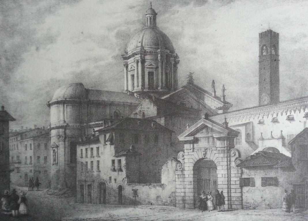 Piazza Broletto - Litografia Filippini