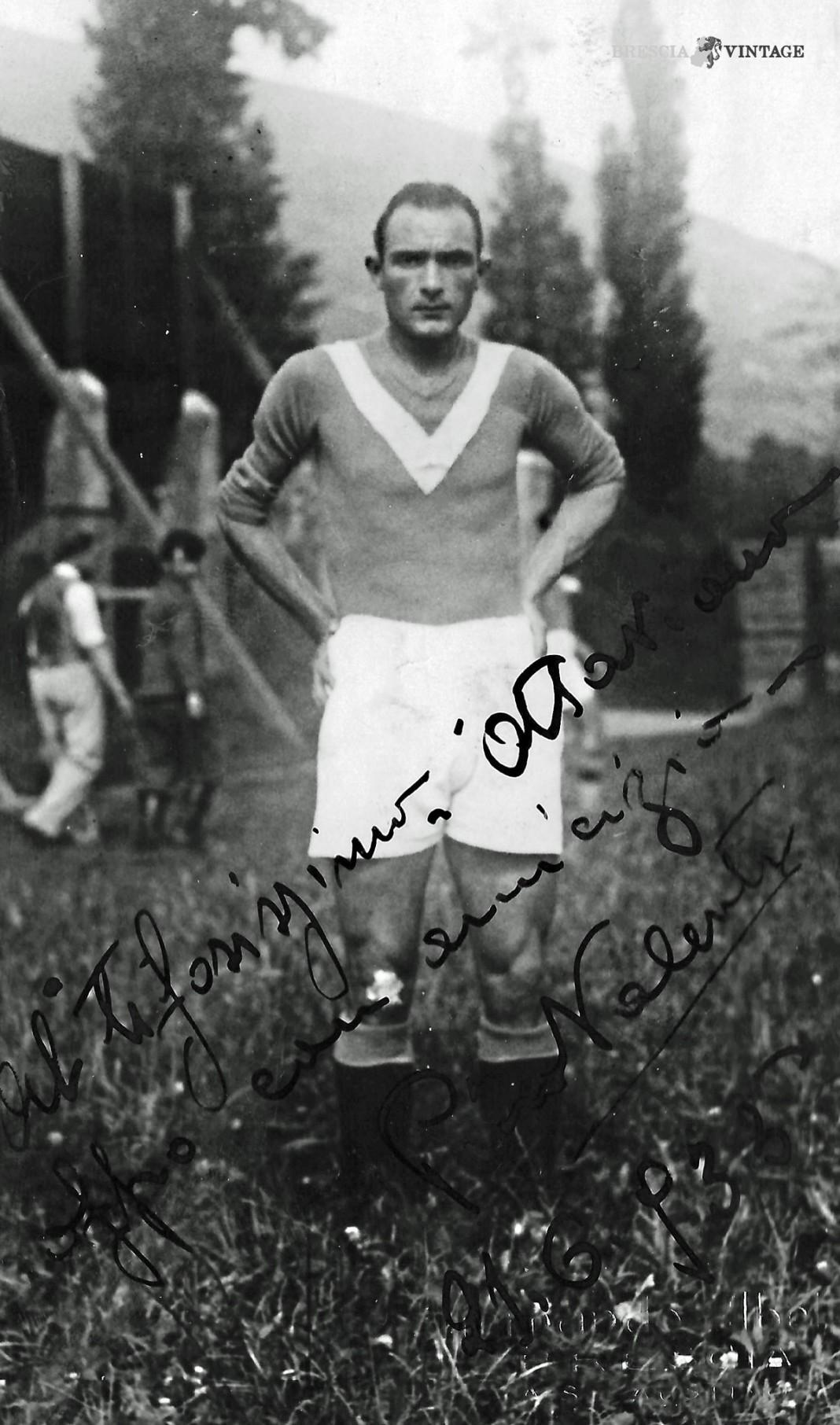 Foto con dedica di Pino Valenti del Brescia 1935