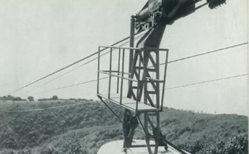 """""""Funivia in arrivo dalla città"""" - Monte Maddalena - 1955"""