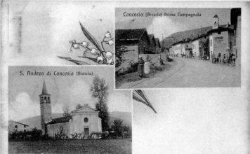Cartolina (anni '20 circa) che mostra la vecchia chiesa di S.Andrea di Concesio (fraz
