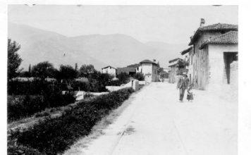 La strada Triumplina all'altezza della frazione Campagnola di mezzo (1904)