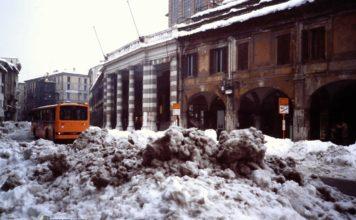 grande nevicata in corso Zanardelli a Brescia